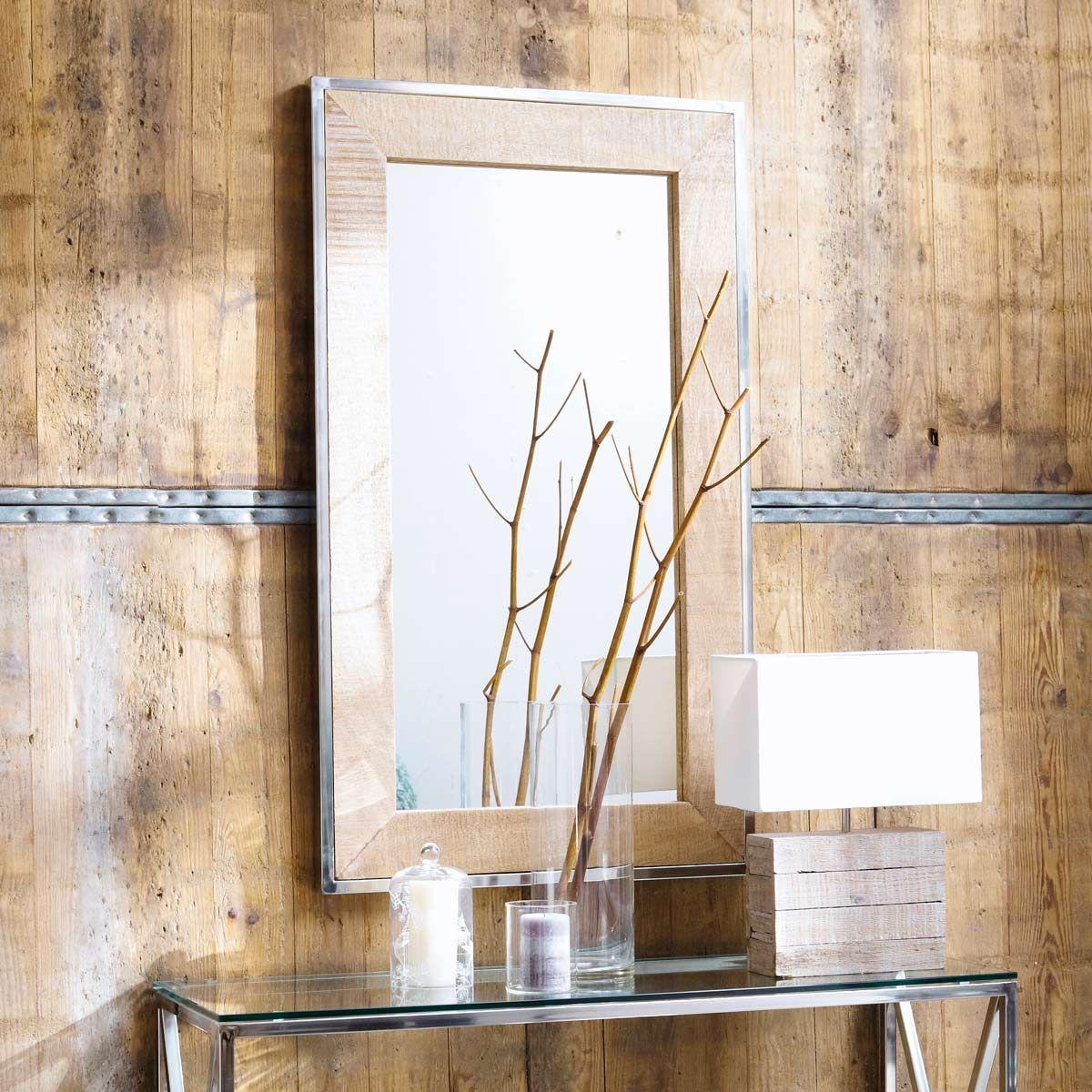 maison du monde miroir en manguier et mtal effet chrom h 120 cm helsinki dimensions