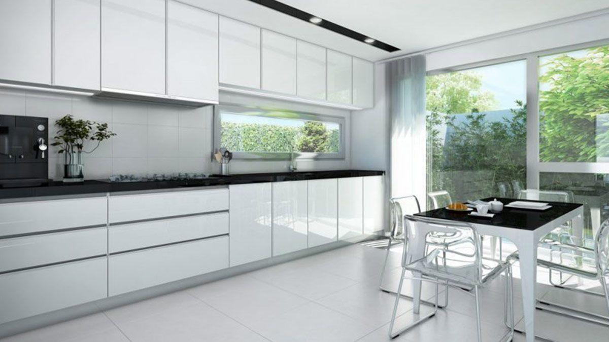 Cocina Blanca Y Negra Con Mesa Serie Holst Muebles De Cocina En - Mesa-cocina-blanca
