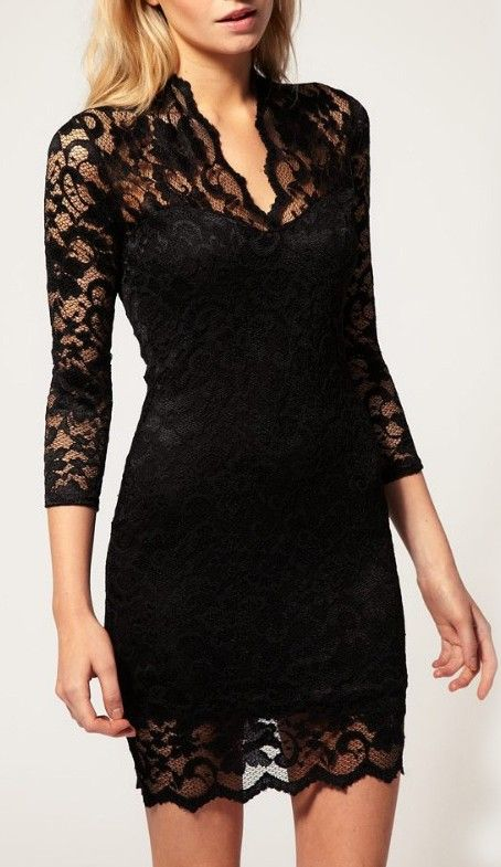 803dec72862c7 New Lace V-Neck 3/4 Sleeve Dress   A Little Black Dress   Lace dress ...