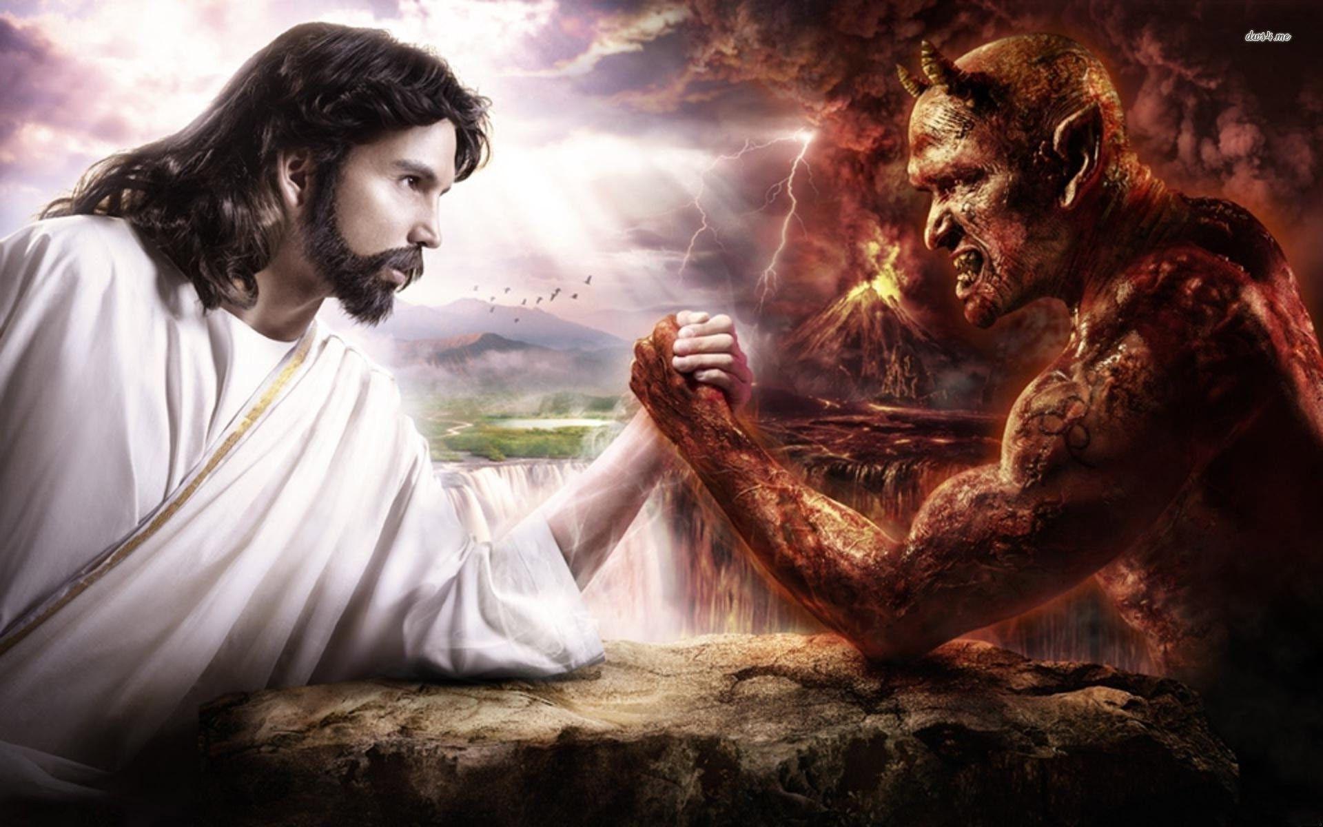 Jesus Vs Satan Hd Wallpaper Jesus Wallpaper Jesus Satan