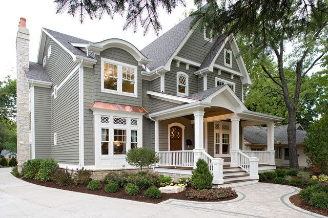 Cabot solid stain pewter grey color inspiration for Traditional house exterior