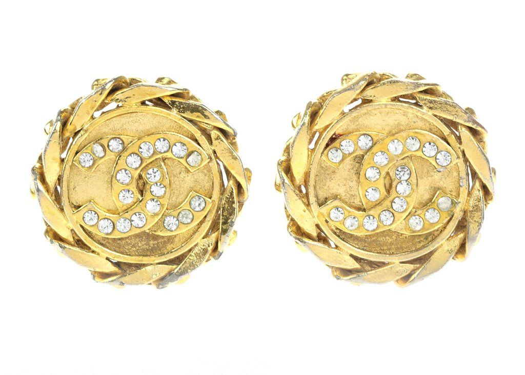 Chanel Vintage Gold Chain Round Crystal CC Earrings | Designer Vault