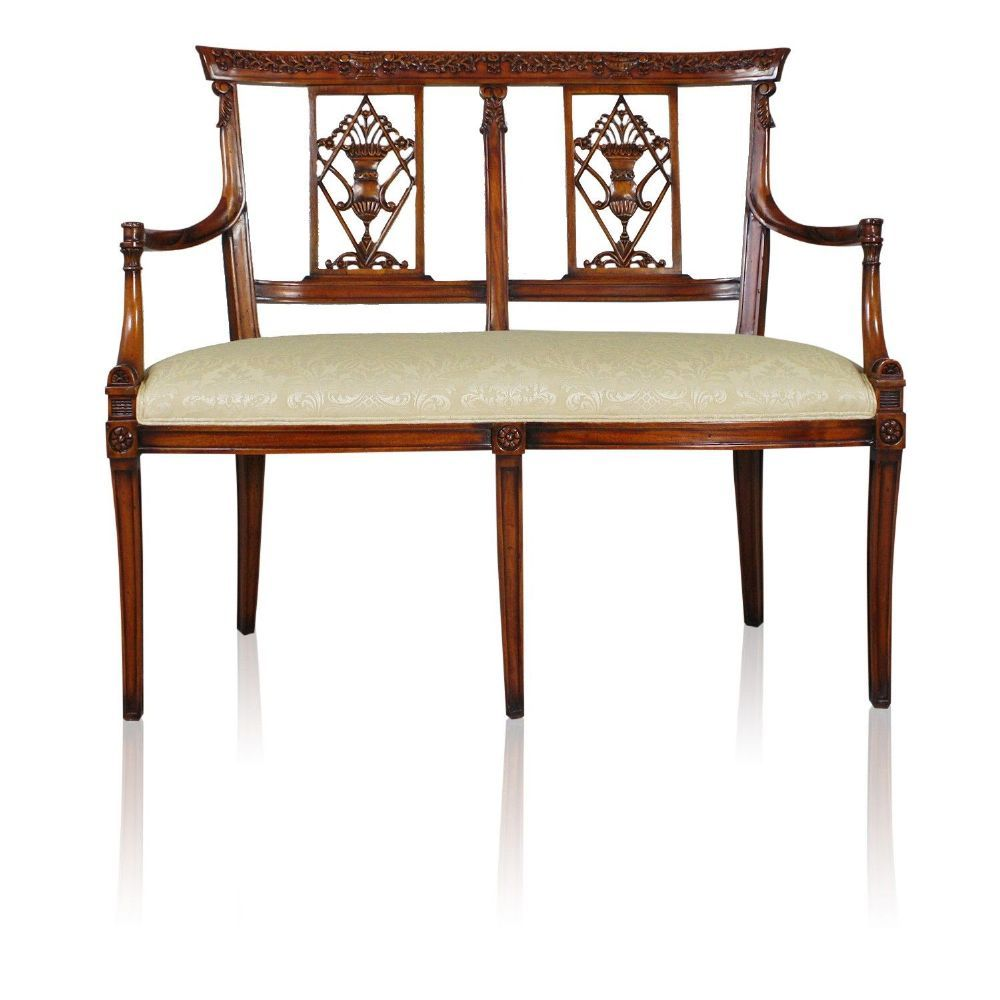 Thomas Chippendale Reproduction Hand Carved Solid Mahogany Two Seat