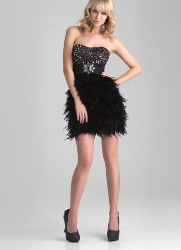 fc3828f0d28 Short-Feather-Skirt-Dress-Cocktail-Dresses-Prom-Party-Gown-Stock-White-Black