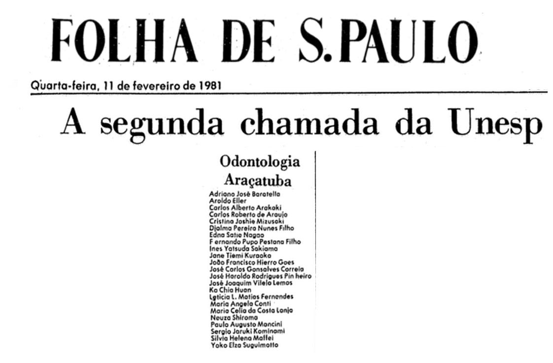 Aprovados Vestibular 1981 da Faculdade de Odontologia de Araçatuba - 2ª Chamada