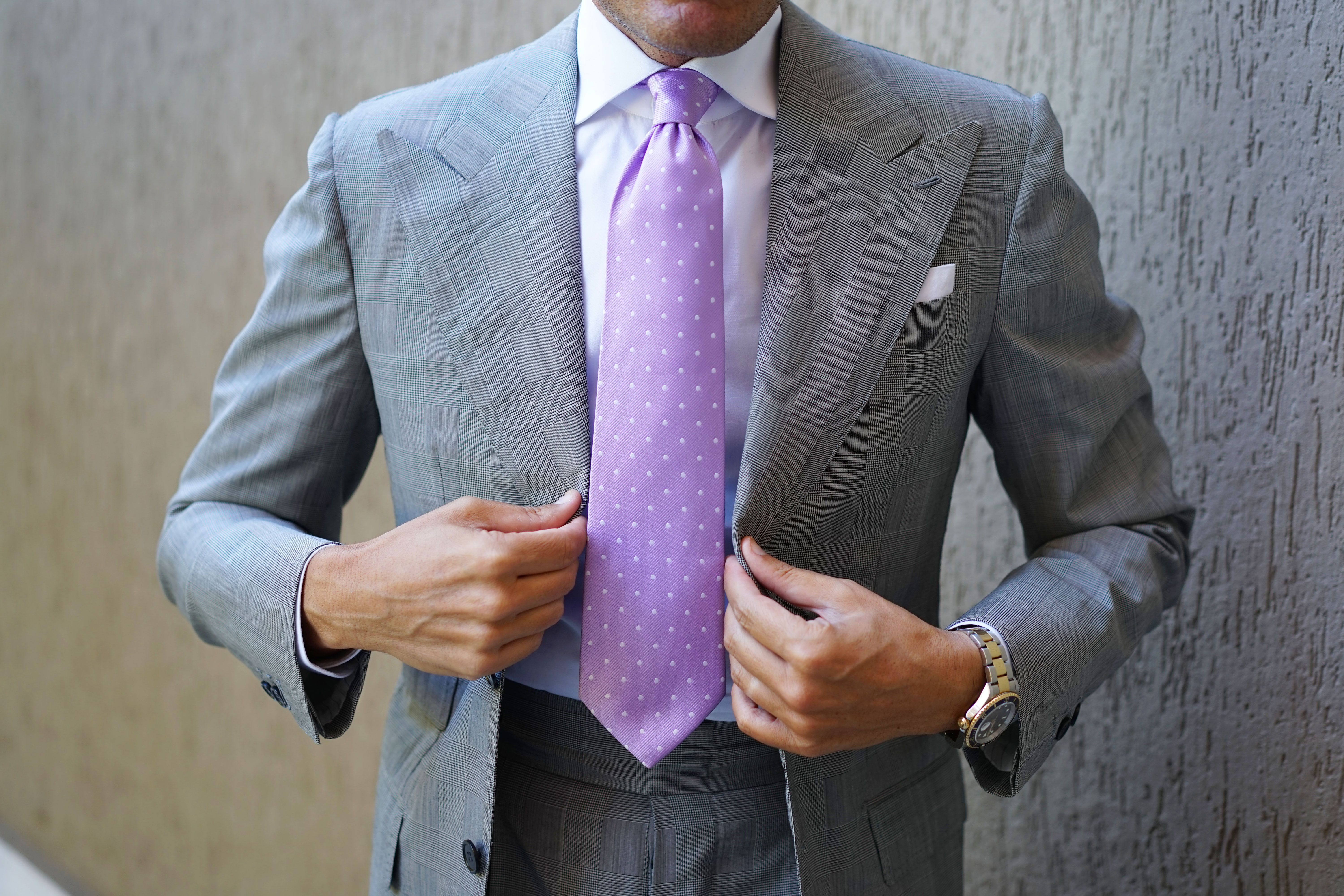 Light Purple with White Polka Dots Necktie Tie Ties