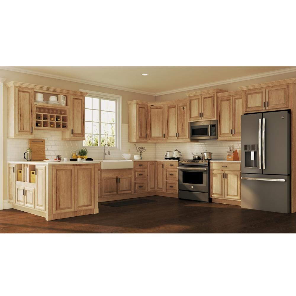 Hampton Bay Hampton Assembled 36x34 5x24 In Sink Base Kitchen Cabinet In Natural Hickory Ksb36 Nhk The Home Depot In 2020 Rustic Kitchen New Kitchen Cabinets Rustic Kitchen Cabinets