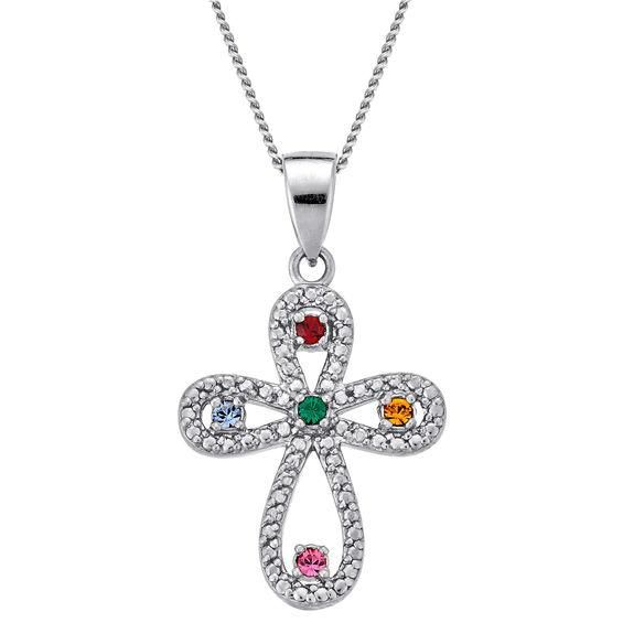 Zales Personalized Heart Birthstone Pendant in Sterling Silver (1-5 Stones & Names) E1AeuseU