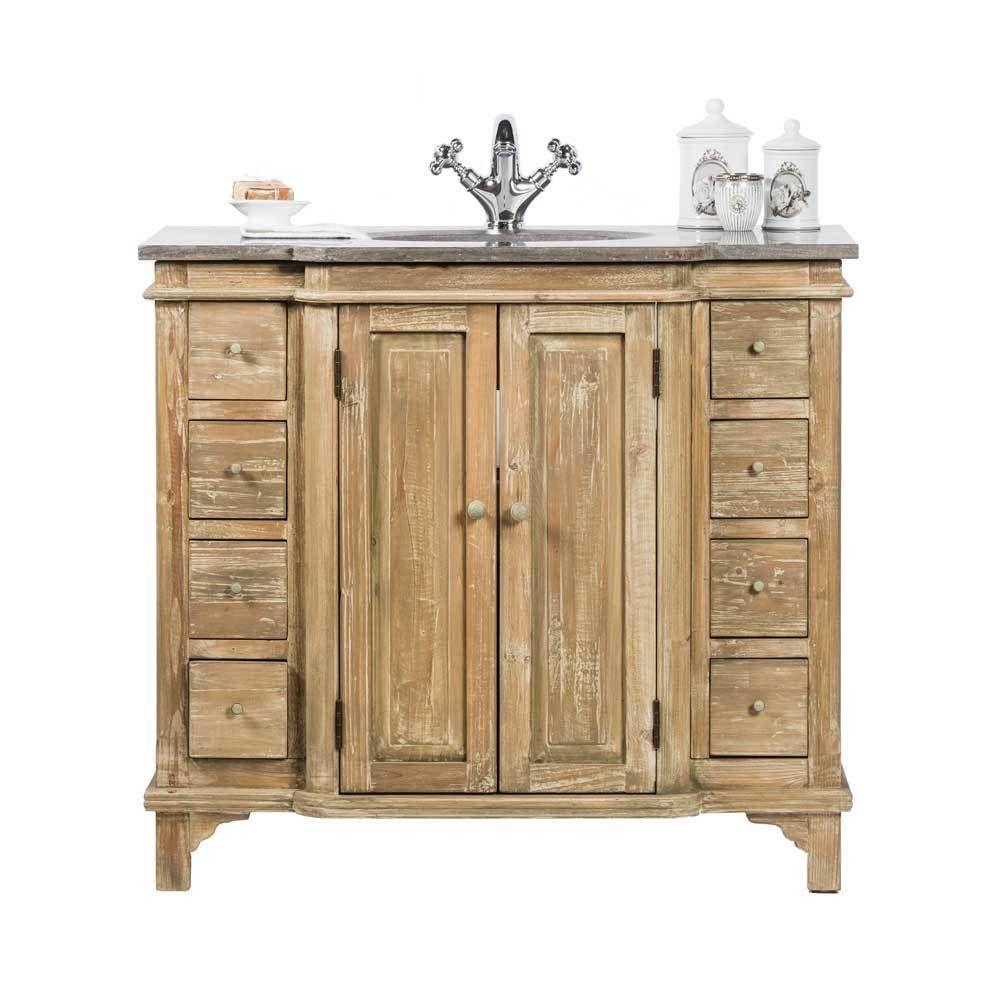 Badezimmer Waschbeckenschrank aus Kiefer antik mit Becken Jetzt ...