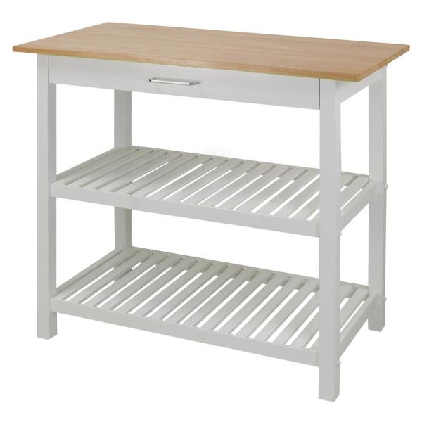 Best Casual Home White Kitchen Island With Solid Wood Top In 400 x 300