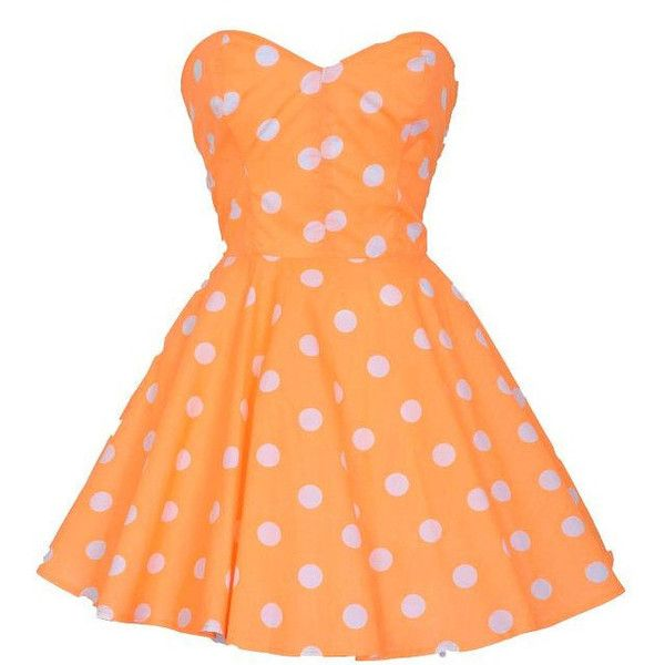 Pin-Up Orange Polka Dot Prom Party Dress ($65) ❤ liked on Polyvore featuring dresses, vestidos, short dresses, orange, orange prom dresses, long prom dresses, red polka dot dress, short prom dresses and strapless bustier