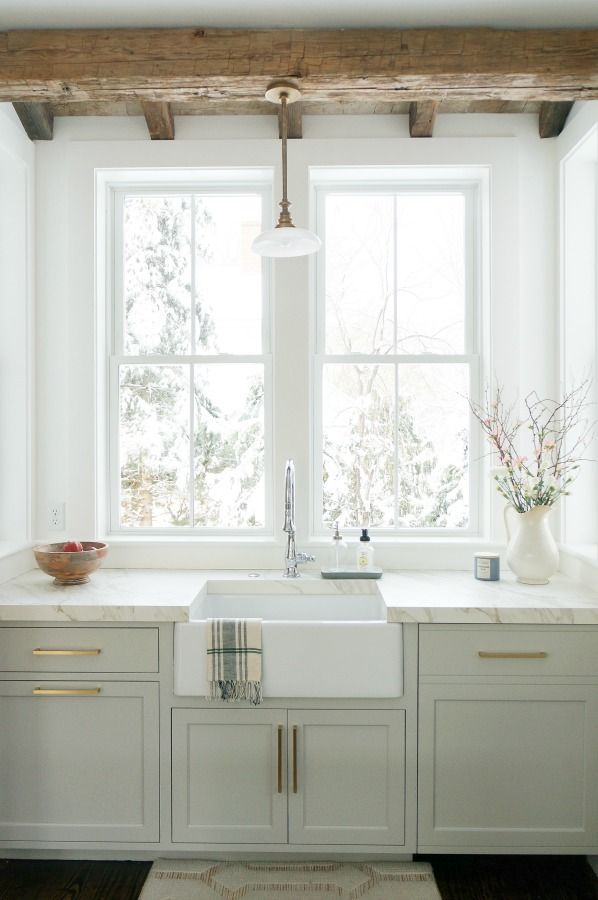 Timeless Tranquil White & Grey Kitchen Tour #greykitchendesigns