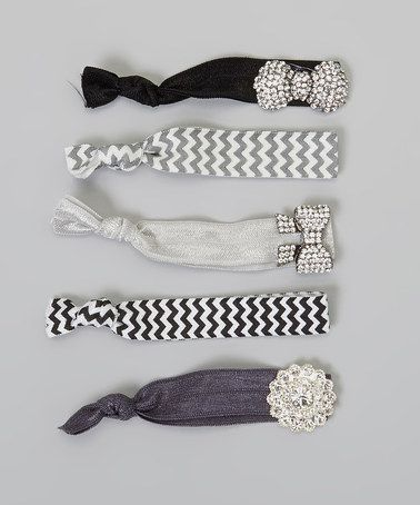 Take a look at this Silver Zigzag Hair Tie Set by Charlotte Rose Couture on #zulily today!