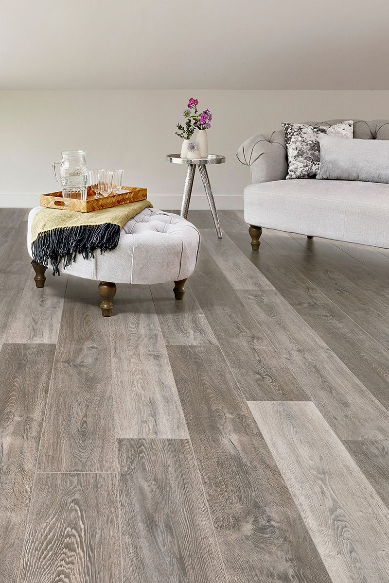 Aqualock 12mm Laminate Flooring Earl Grey Oak Grey Laminate Flooring Grey Flooring Living Room Brown Living Room Decor