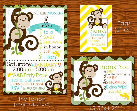 Hey, I found this really awesome Etsy listing at http://www.etsy.com/listing/123295323/monkey-baby-shower-invitation-set-party