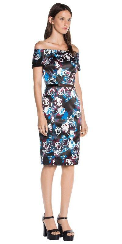Sale  | Floral Satin Off Shoulder Dress