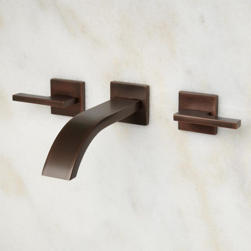Photo of Signature Hardware 393440 Oil Rubbed Bronze Ultra 1.2 GPM Wall Mounted Widespread Bathroom Faucet with Pop-Up Drain Assembly