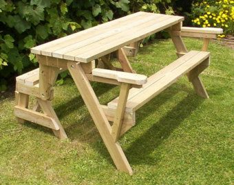 Strange One Piece Folding Bench And Picnic Table Plans Short Links Chair Design For Home Short Linksinfo