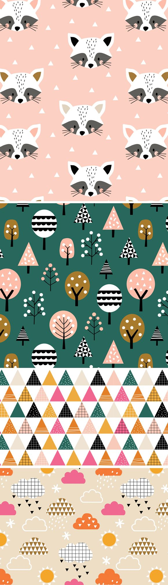 wendy kendall designs – freelance surface pattern designer » geo forest racoon #surfacepatterndesign