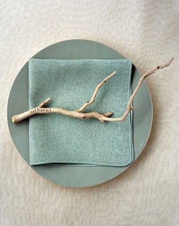 Twig name tag. For a summer table setting with beach glass ...