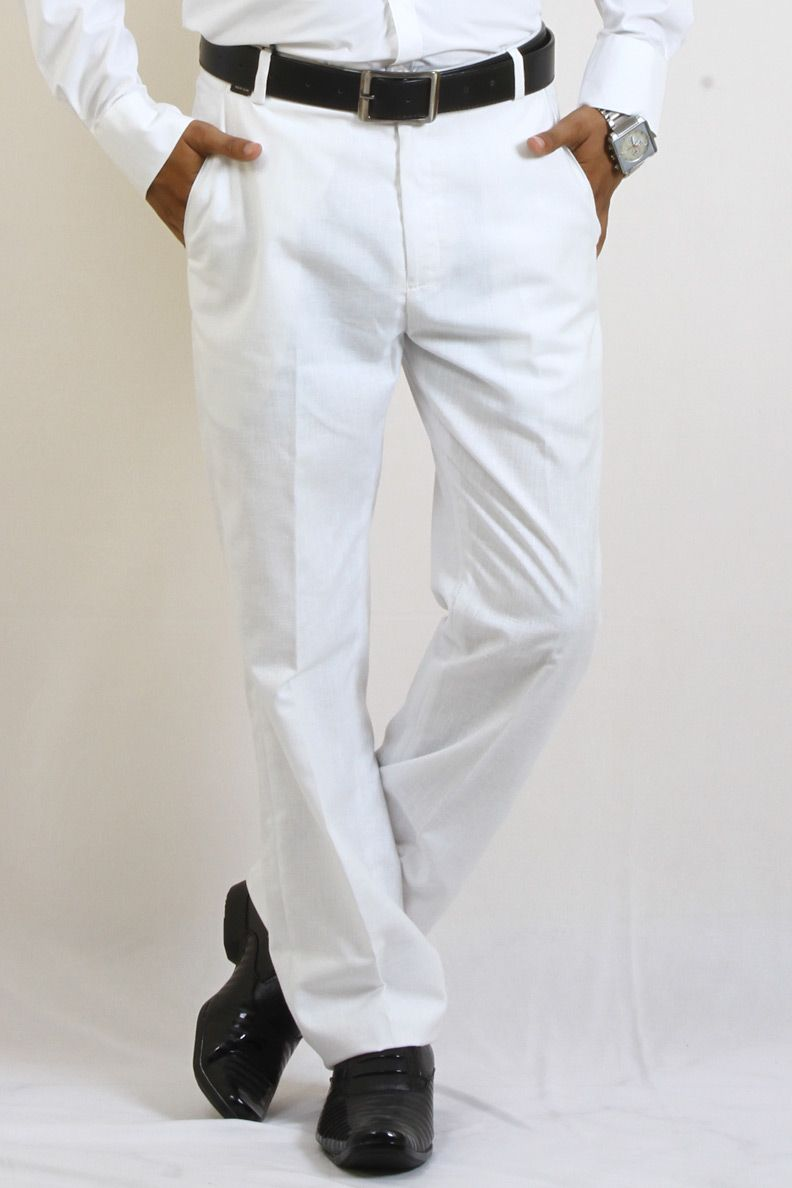 d6477b9b2a Buy White Color Formal Wear Cotton Trouser For Men Online in India ...