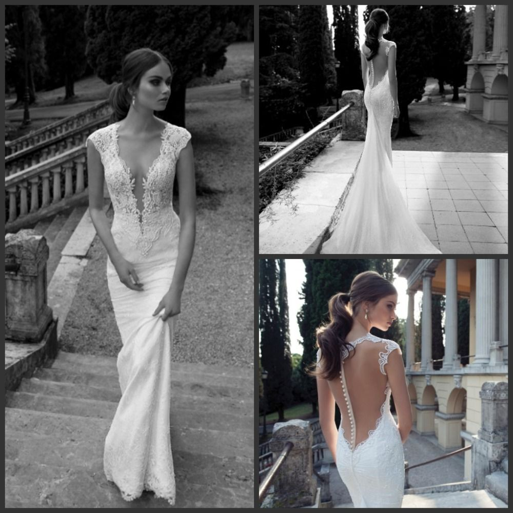Vneck chiffon appliques capsleeves back zipper with beads wedding