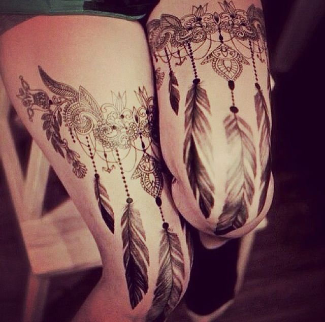beaded & feathered, Victorian-inspired garter tattoos.