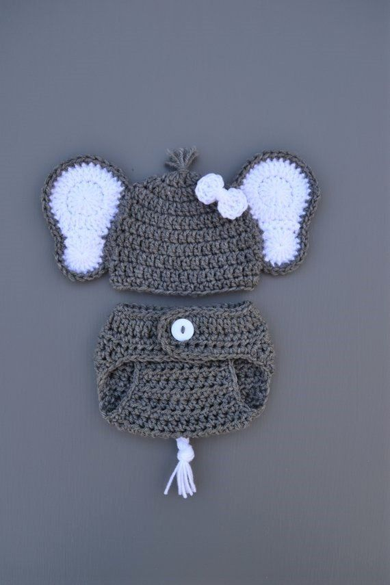87590feef12 Newborn Baby Elephant Outfit Baby Elephant Costume Crochet Elephant Hat  Newborn Photo Outfit Photography Photo Prop Baby Boy Girl Outfit