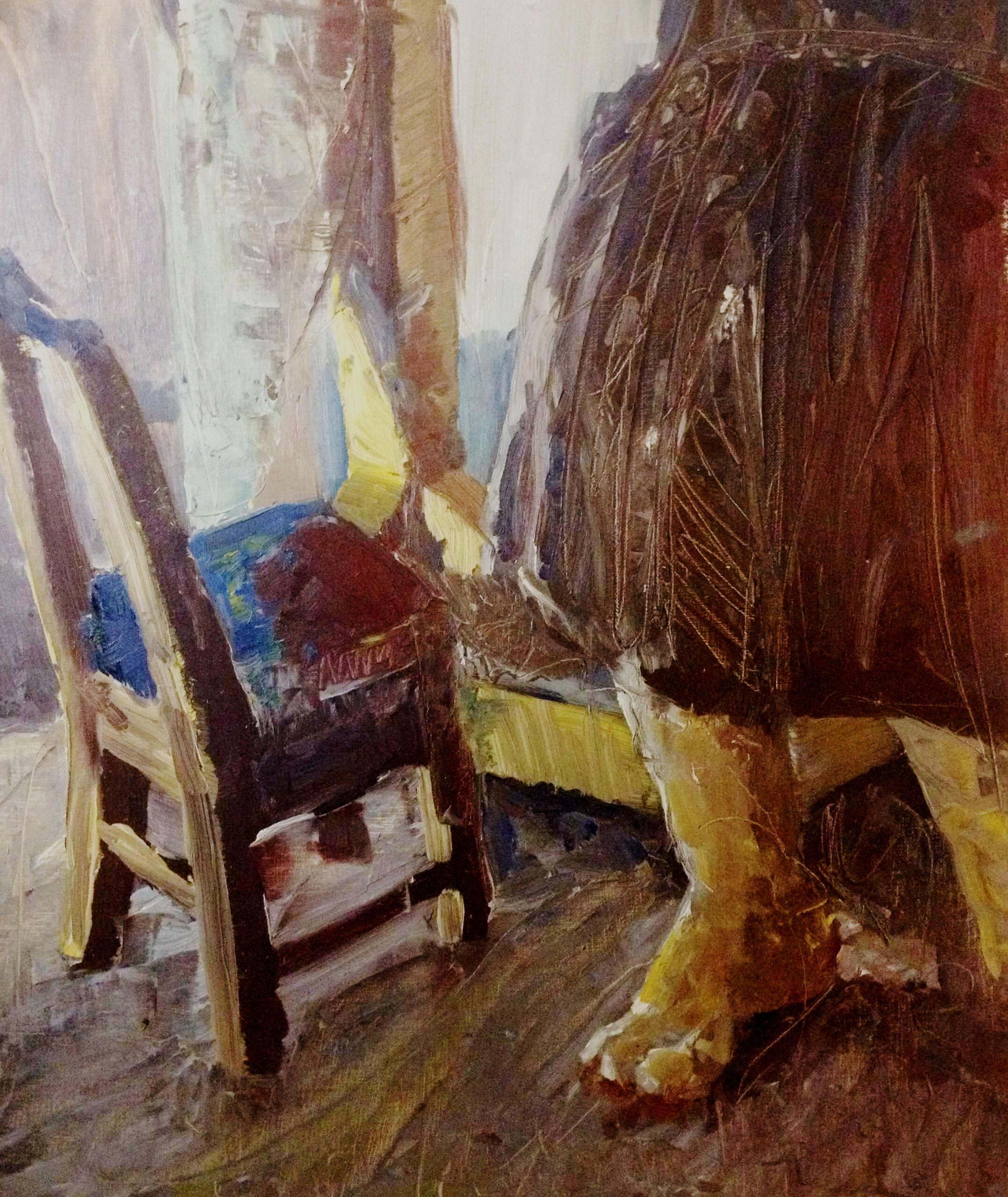 Tomcat's Mommy and a chair.  Oil paint on canvas by Kelly Krider (1994)