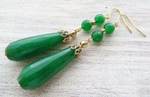 Photo of Jade drop earrings, green emerald jade earrings, dangle earrings, gemstone earrings, stone jewelry, contemporary jewelry, teardrop