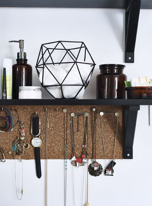 Make Room For Beauty Add A Cork Board Below A Shelf To Gain Extra Storage Space And Display Accessories And Jewell Ikea Jewelry Storage Ikea Diy Ikea Shelves