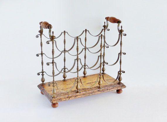 Antique Italian Wine Rack Brass Wood By Sunshinesurprises