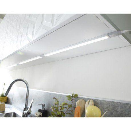 Réglette à fixer plate led intégrée 55 cm Rio INSPIRE 6 W gris - fixer plan de travail cuisine