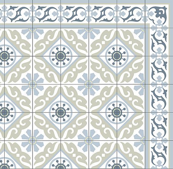 Tiles Pattern Decorative PVC vinyl mat linoleum rug - Color Gray ...