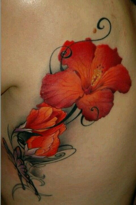 Realistic Red Lilies Tattoo Hibiscus Flower Tattoos Hibiscus Tattoo Flower Tattoos
