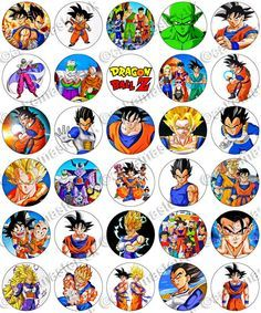 30 x Dragon Ball Z Party Edible Rice Wafer Paper Cupcake Toppers