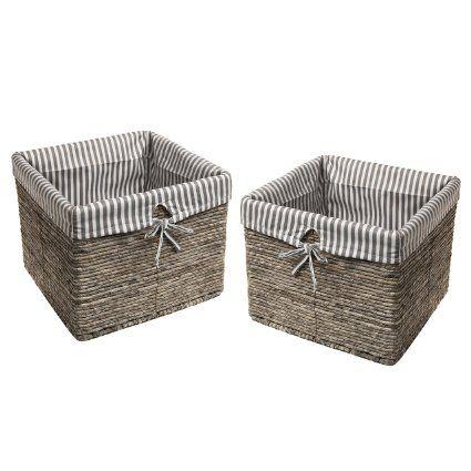 Charmant 2 Gray Rattan Woven Stripe Fabric Lined Laundry / Magazine / Home Storage  Basket