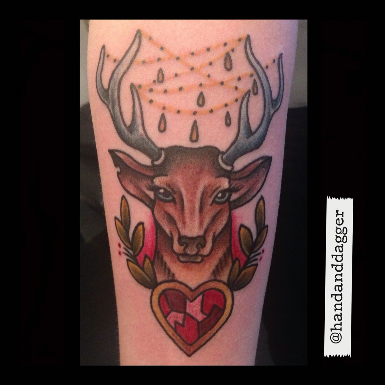 traditional stag doe deer head heart tattoo by jenna hayes