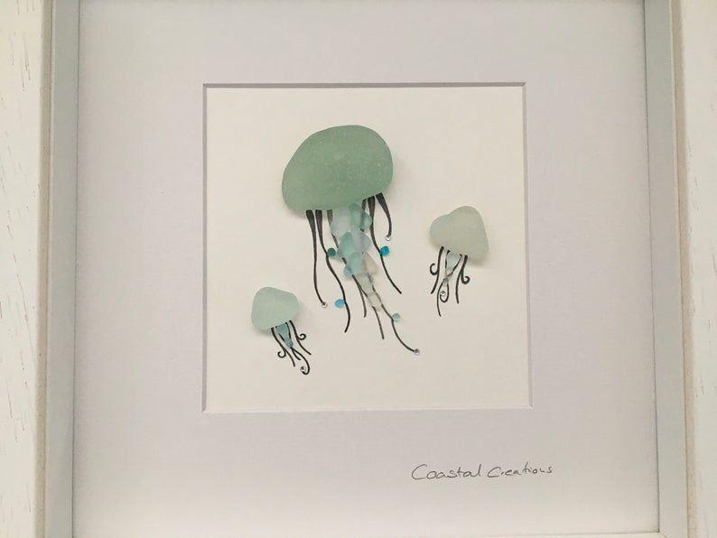 Sea Glass Art Jellyfish Jellyfish Wall Art Etsy In 2020 Jellyfish Wall Art Etsy Wall Art Sea Glass Art