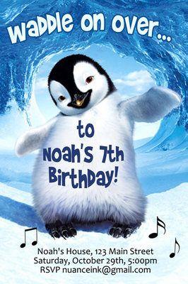 Happy Feet Custom Birthday Party Invitations 15 Digital File