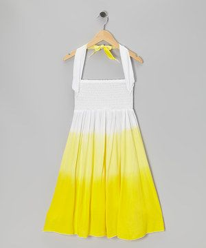 Look what I found on #zulily! Yellow & White Ombré Shirred Infinity Dress by Infinity for Girls #zulilyfinds