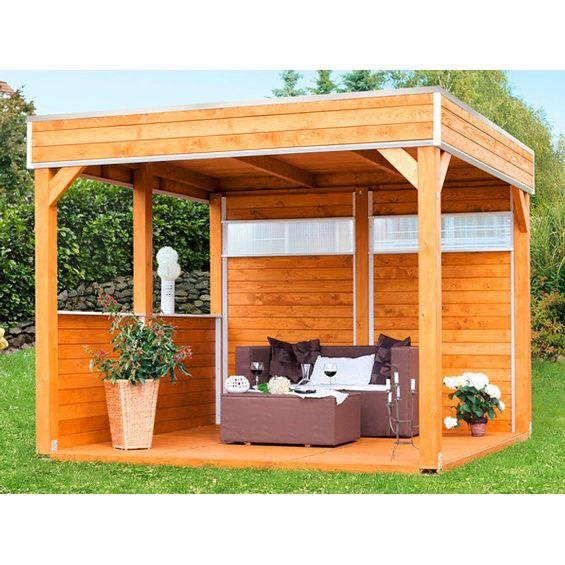 Skan Holz 4-Eck Pavillon Toulouse unbehandelt 302 cm x 302 cm