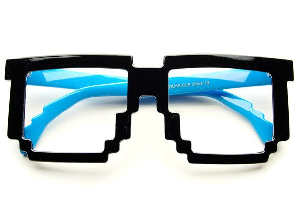 60f1936c6dd CLEAR PIXELATED 8 BIT PARTY GLASSES IN BLACK BLUE P121