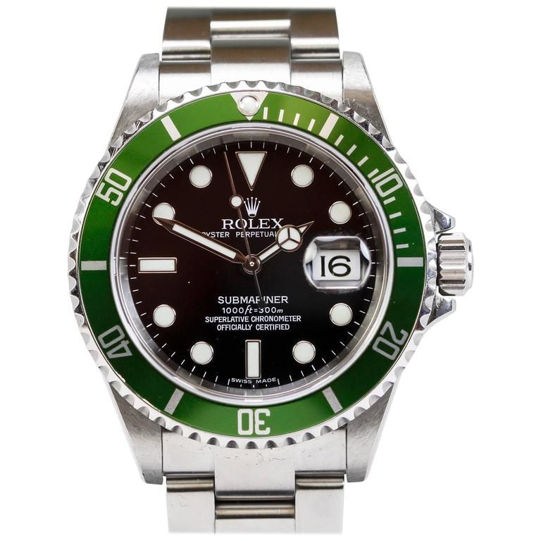 Rolex Stainless Steel Submariner Green Anniversary Ref 16610LV