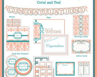 Baby Shower Printable Package - Damask Coral & Teal, editable jpeg files