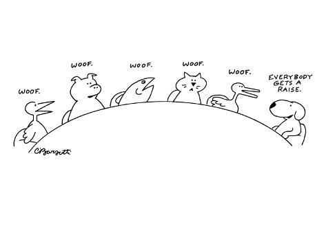 Animals Are Seen Sitting Around A Conference Table A Duck Pig Fish An New Yorker Cartoon Premium Giclee Print Charles Barsotti Art Com In 2021 New Yorker Cartoons Cute