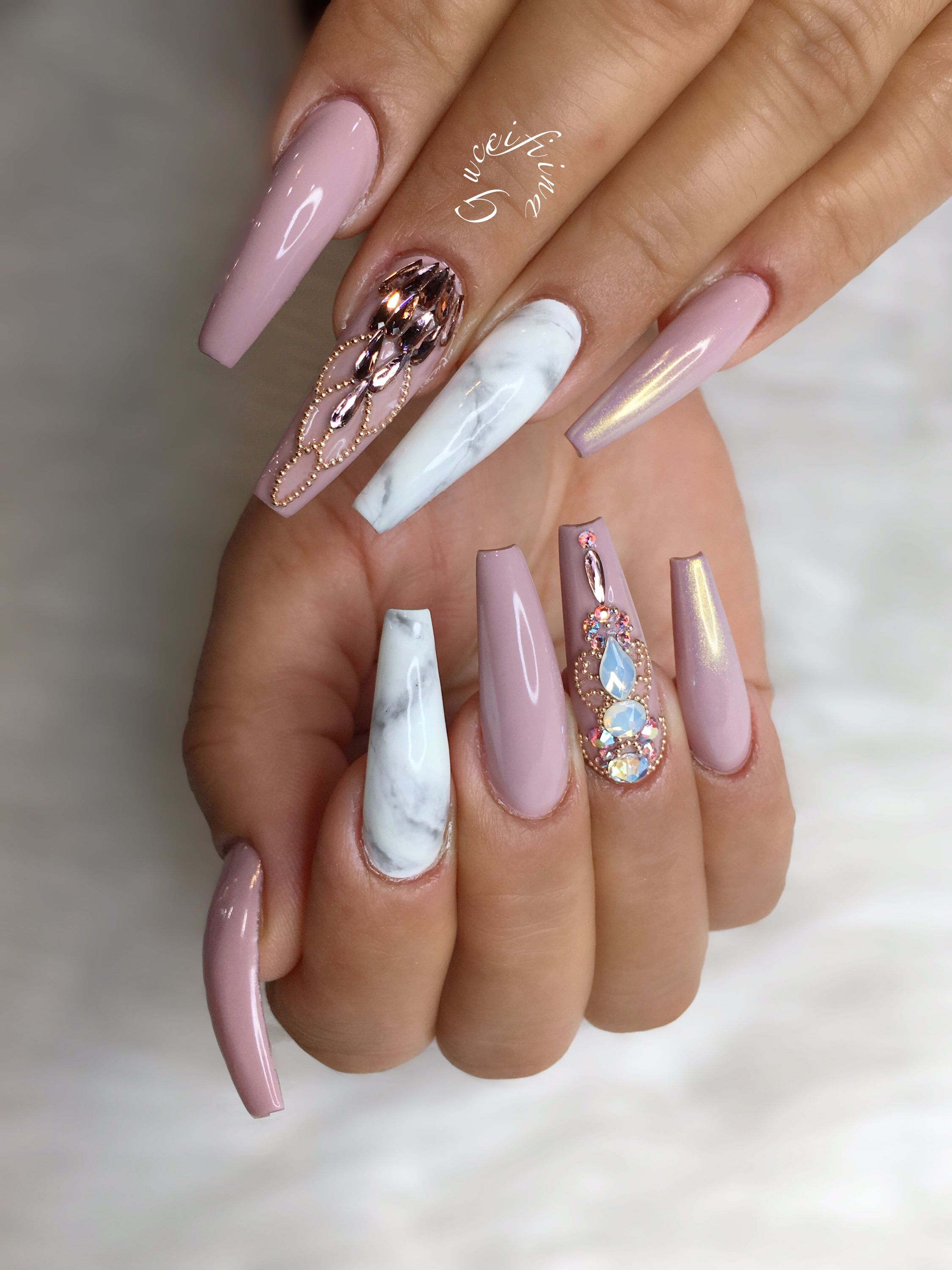 Matte Coffin Nails With Glitter/ Jewels Tumblr