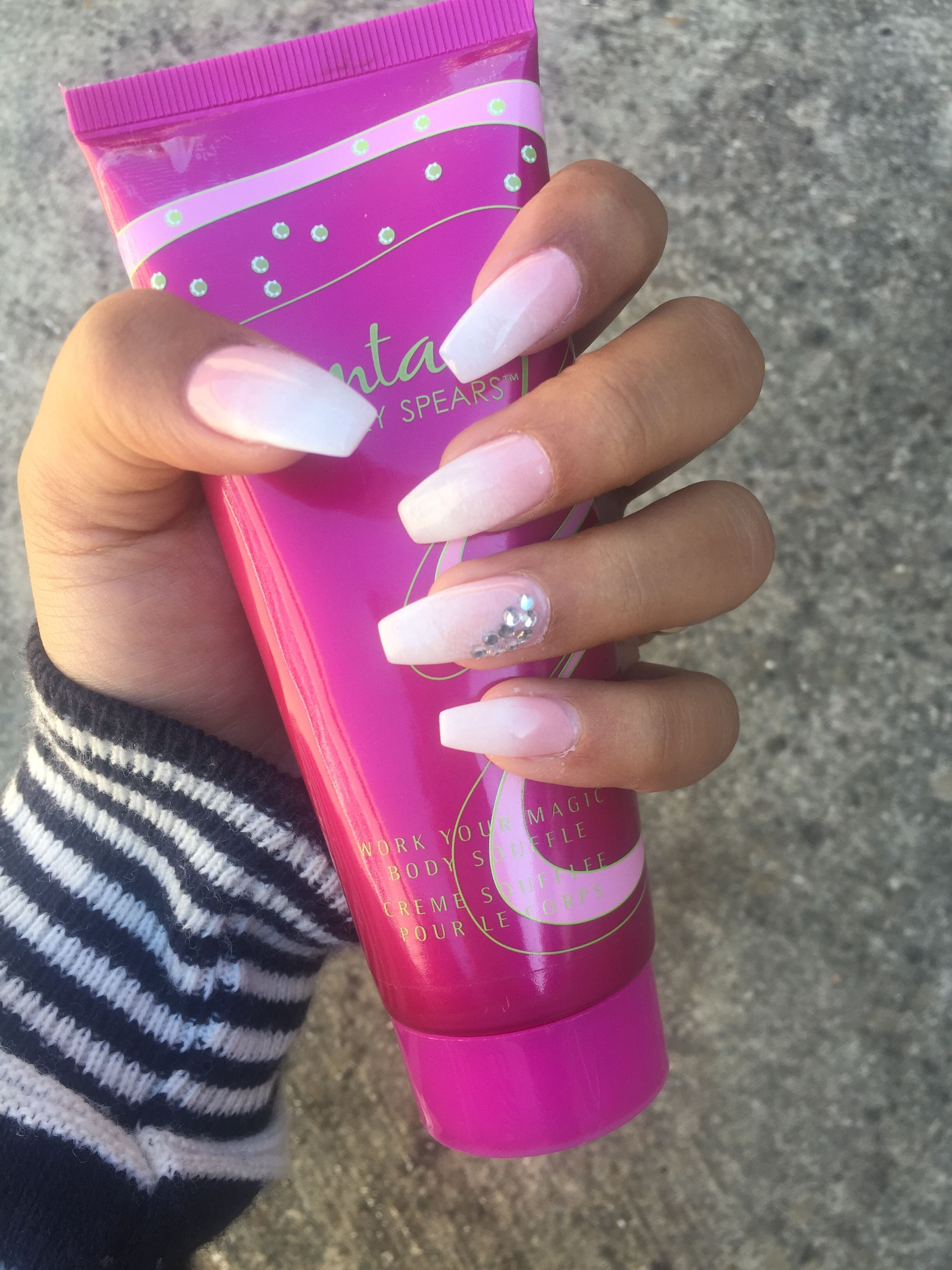 Ombre French pink and white nails! Love it! My nail tech is amazing ...