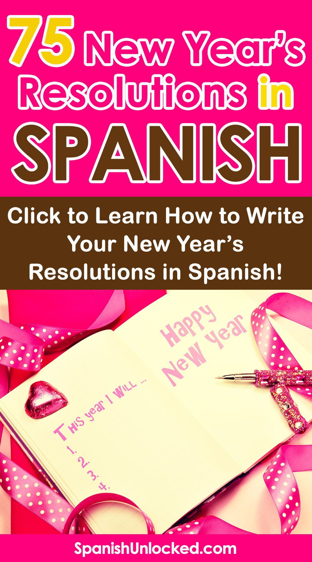 New year resolutions ideas in Spanish List of common New