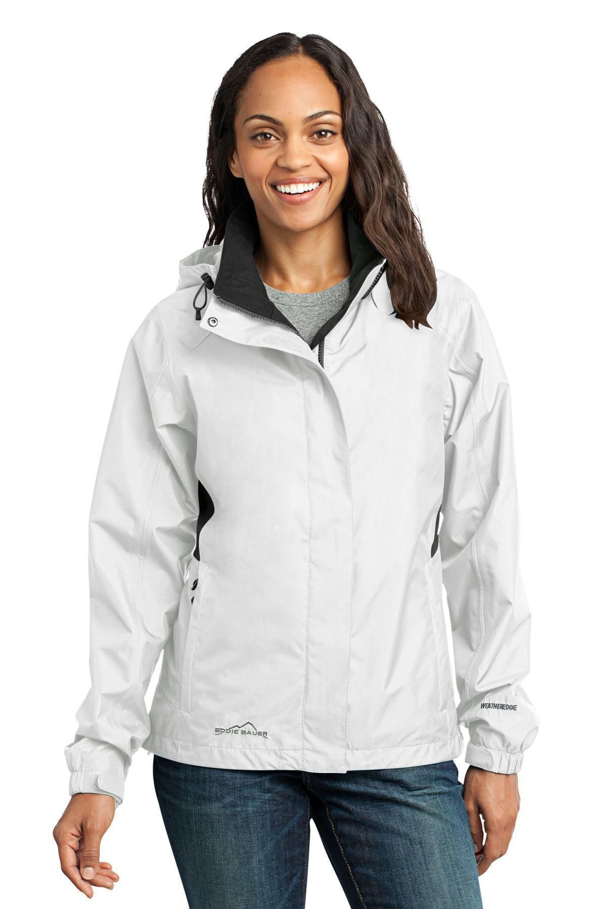 Eddie Bauer Ladies Rain Jacket. EB551 White/Grey Steel
